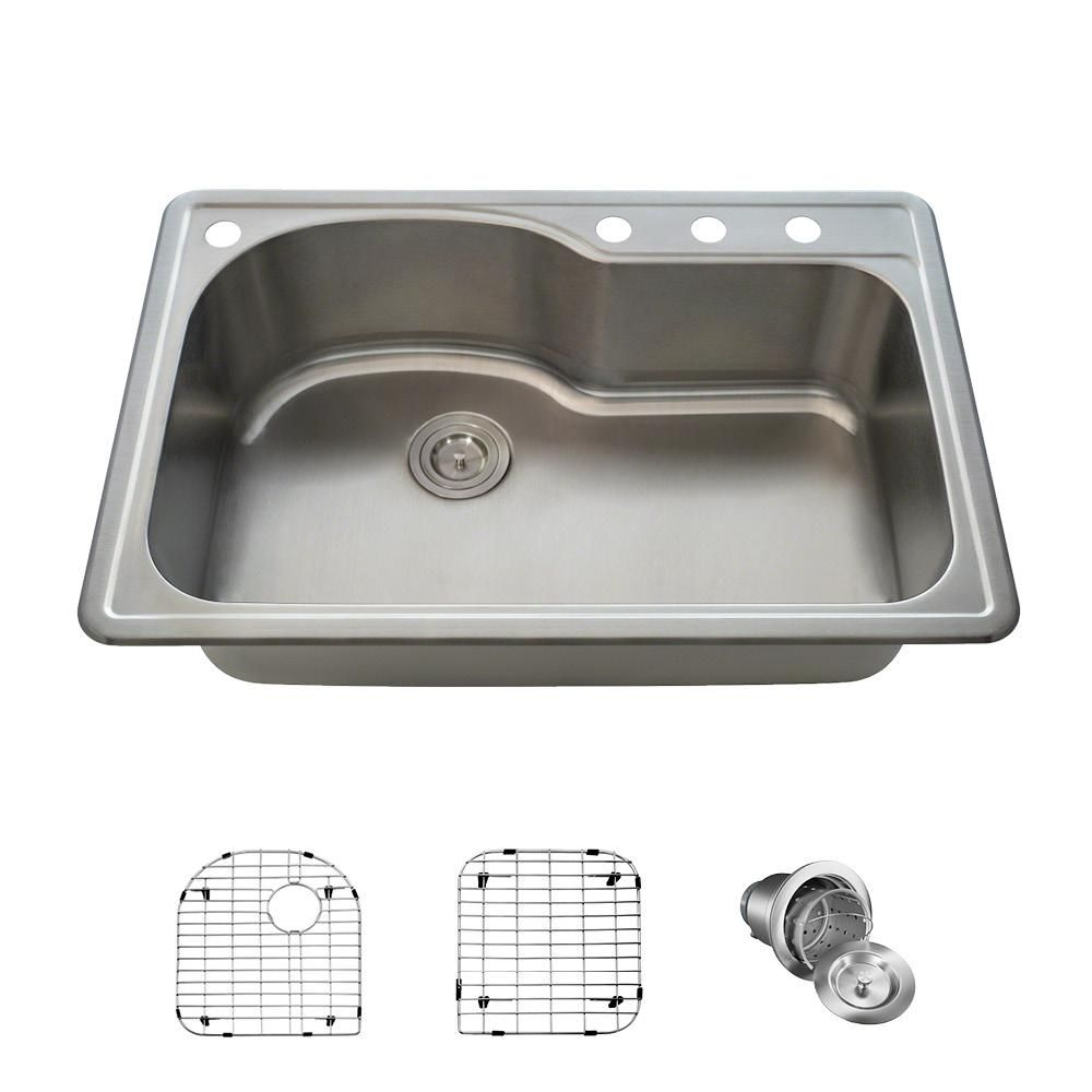Mr Direct All In One Drop In Stainless Steel 33 In Single Bowl