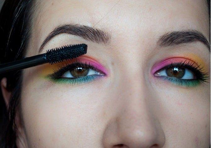 مكياج طريقة تطبيق مكياج آيشادو قوس قزح العيون Rainbow Eyeshadow Eyeshadow Blue Eyeshadow