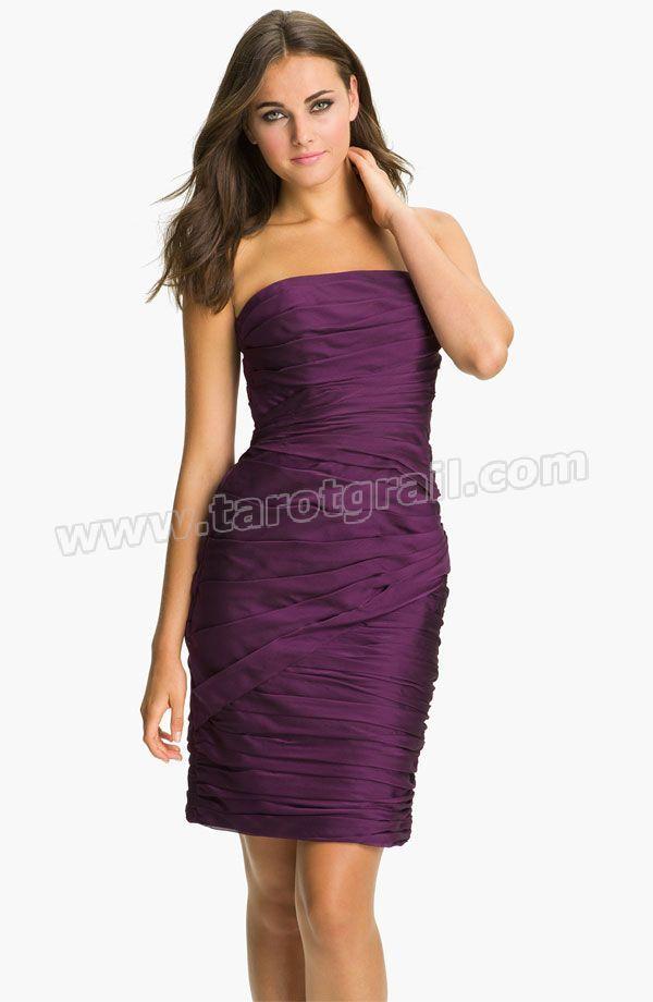 Purple Strapless Ruched Chiffon Dress | Chiffon Evening Dresses ...
