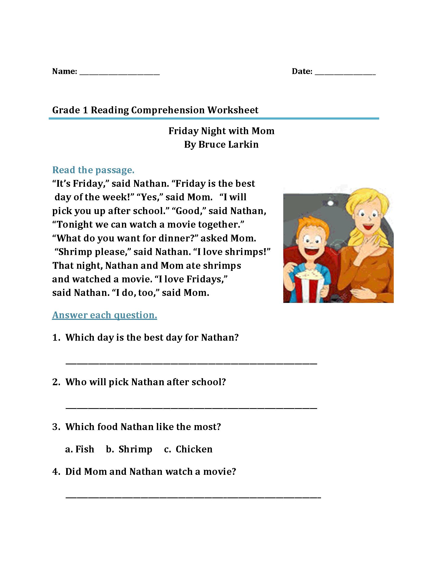 - 1st Grade Reading Worksheets Reading Comprehension Worksheets