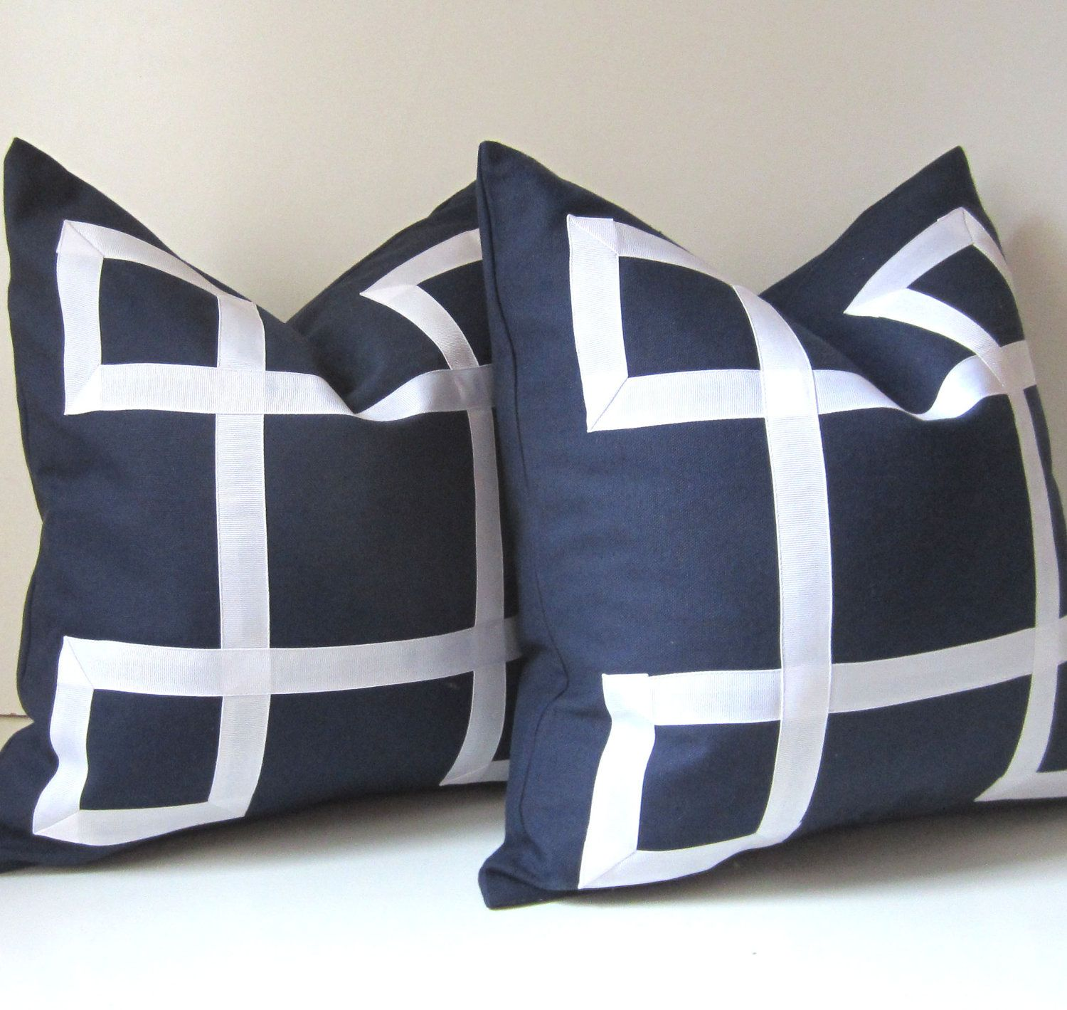 Set of Two  Navy Blue Pillow Covers  18 inch