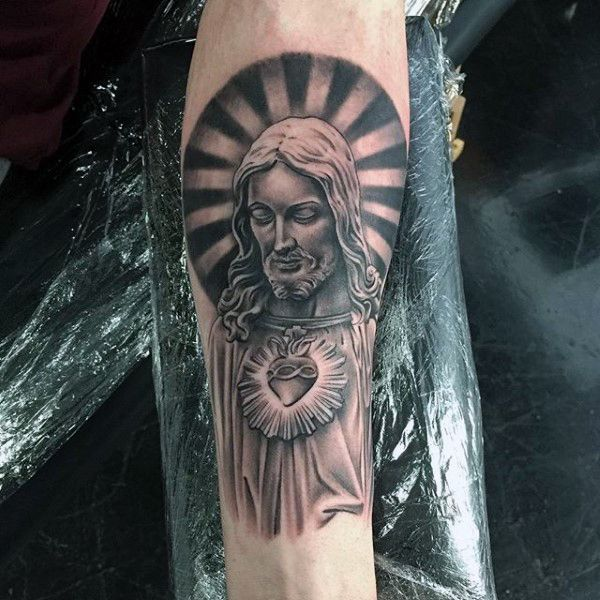 Halo around christ religious tattoo mens arms tatuajes for Jesus tattoos on arm