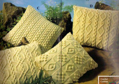 4 Lovely Traditional Aran Cushions Knitting Pattern Manualidades