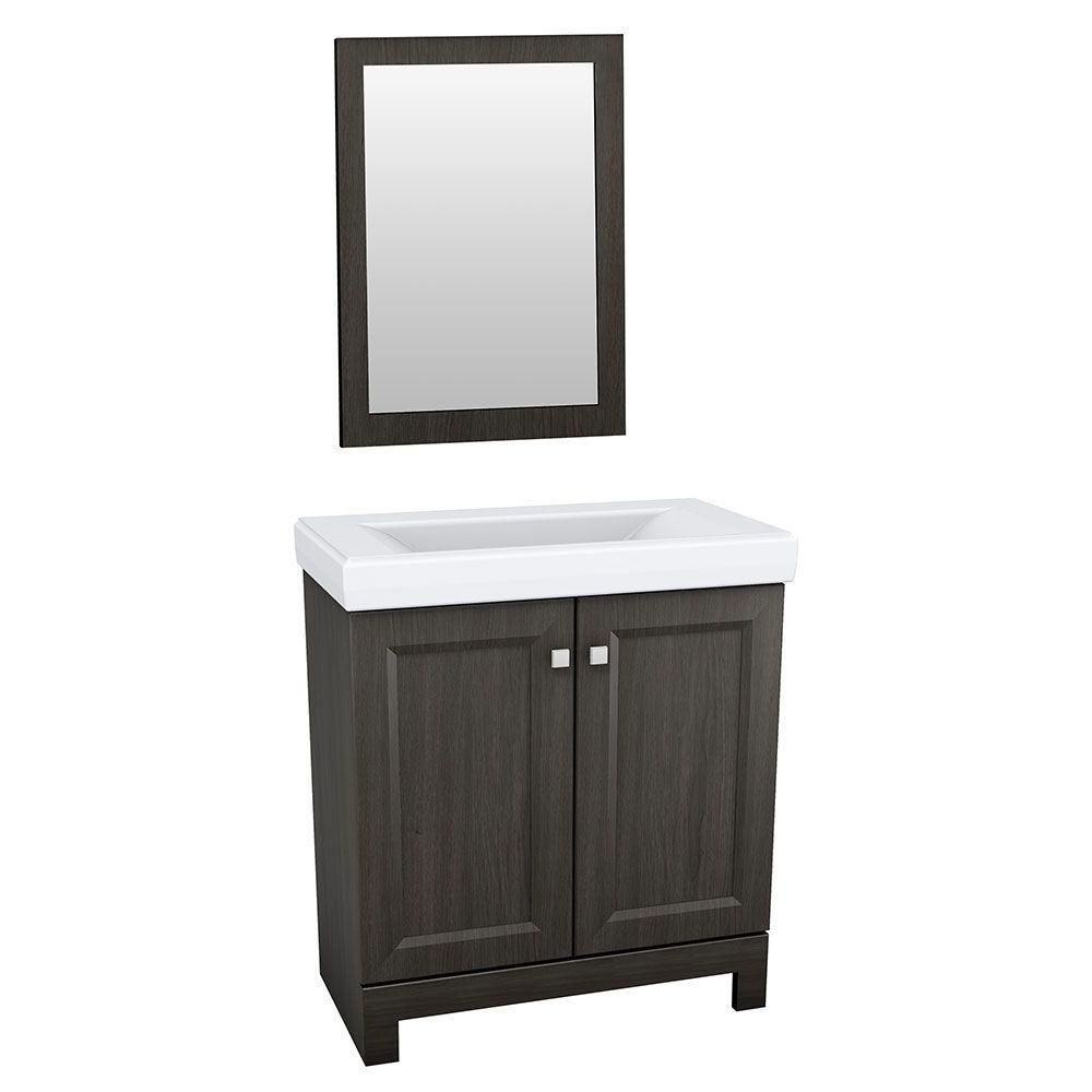 Glacier Bay Shaila 24 1 2 In Vanity In Silverleaf With Cultured Marble Vanity Top In White And
