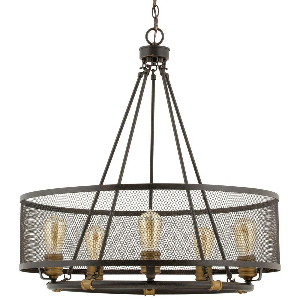 Progress Lighting Heritage Collection 5 Light Forged Bronze Chandelier P7925 77    The