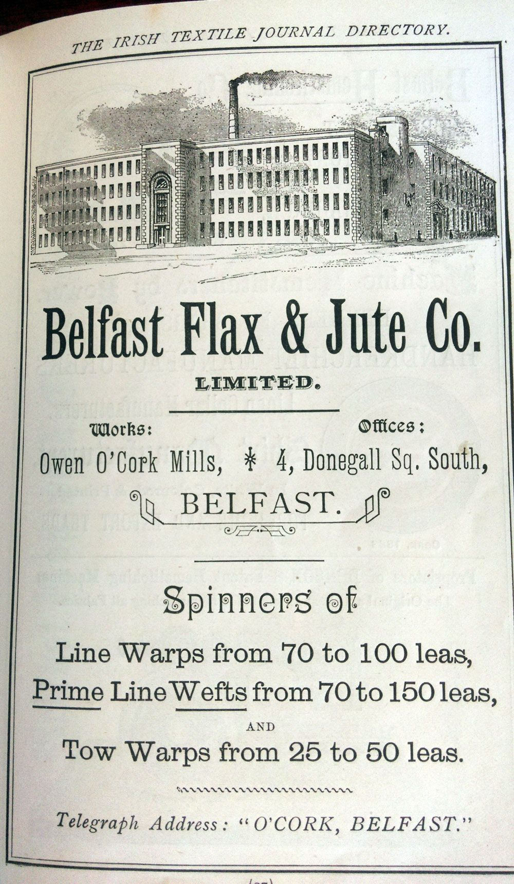 Advertisement for the Belfast Flax and Jute Company from the Irish