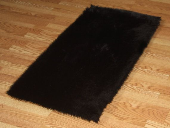 5 X 8 Premium Black Faux Fur Rug Non Slip Washable Solid And A Dark Black Real Chic And Nice For Teens Black Faux Fur Rug Faux Fur Area Rug Faux Fur