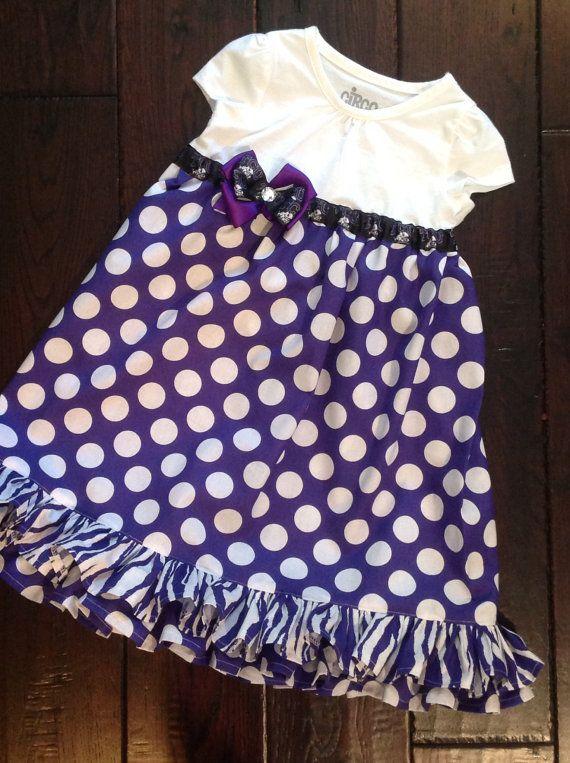 TCU Little Kid Dress Game Day Football by ThePurpleFrogStore, $32.00