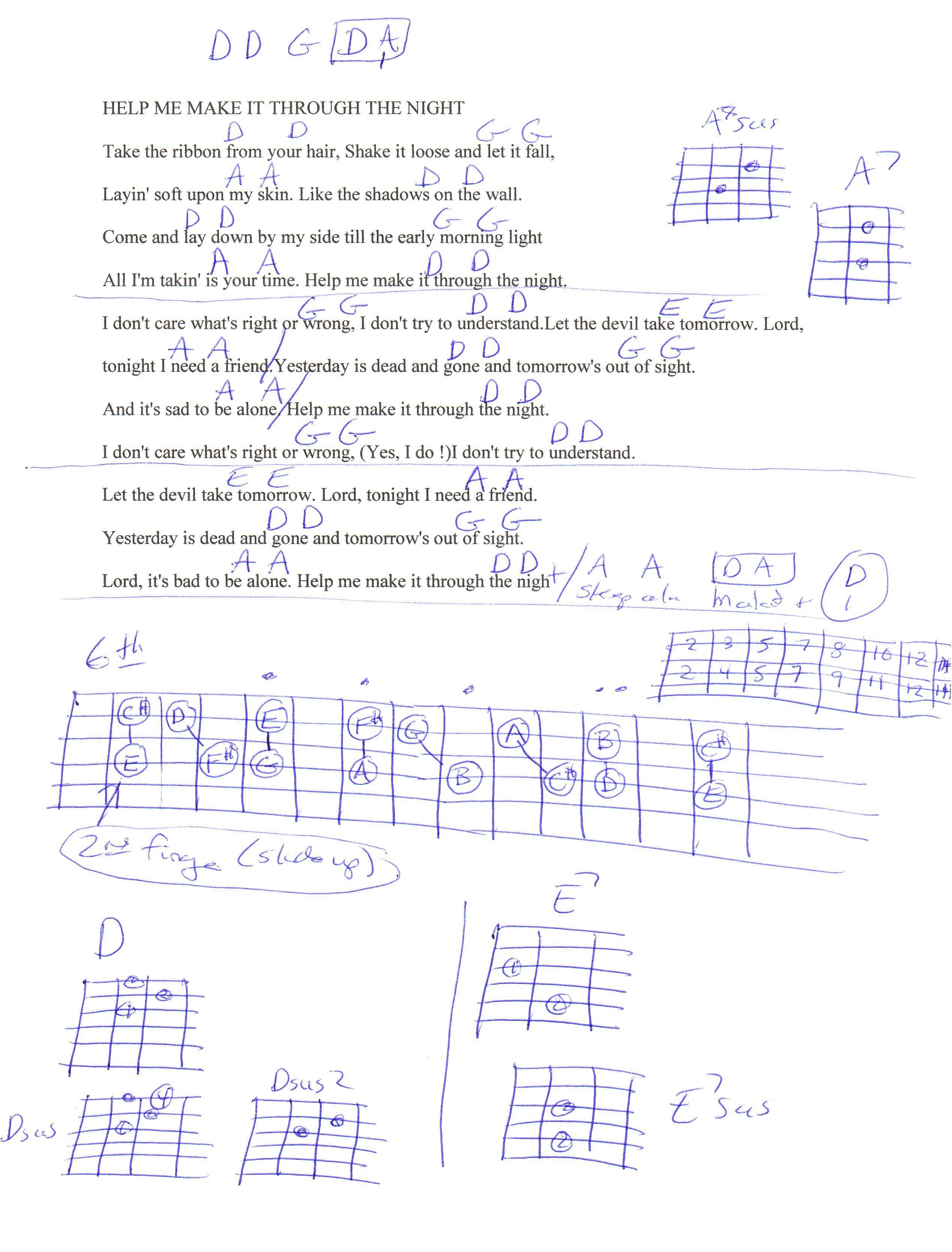 Help Me Make It Through The Night Elvis Guitar Chord Chart Capo