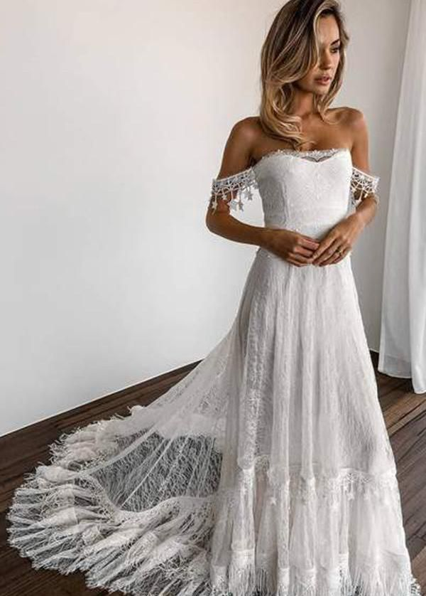 Glamorous Lace Off-the-shoulder Neckline A-line Wedding Dresses