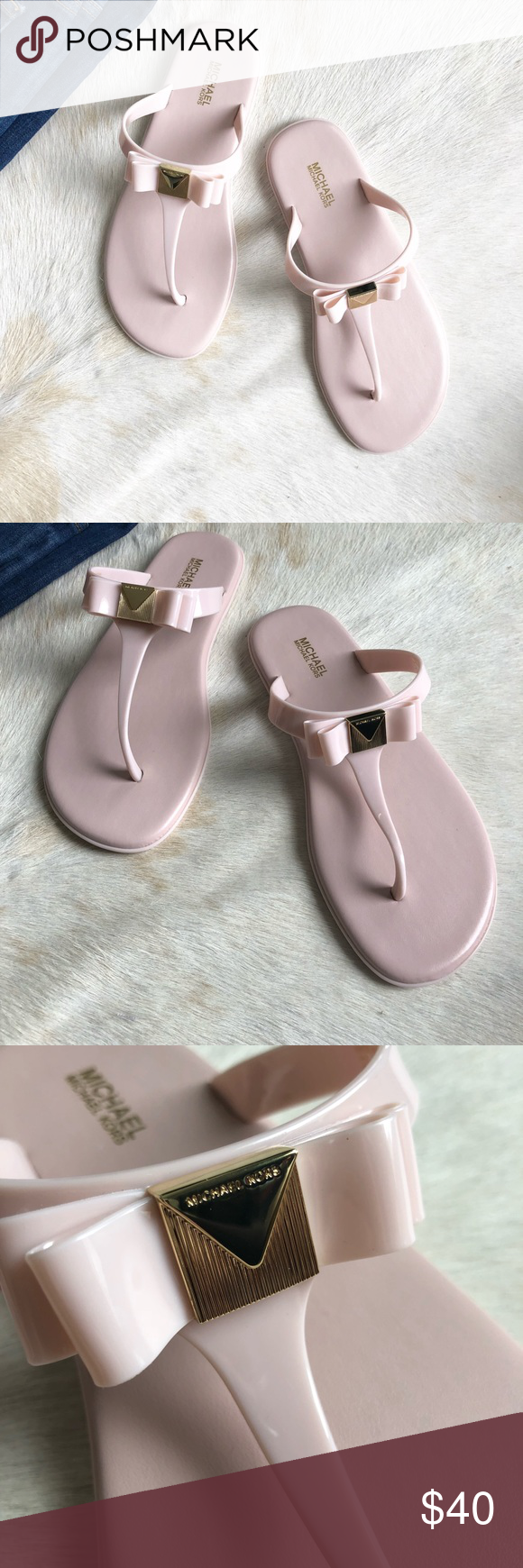 4ba6deb9ff91 🆕Michael Kors Caroline Jelly Thong in Pink- Sz 8 Brand new with Box.  Adorable jelly shoes with padded bottom so they are very comfortable.