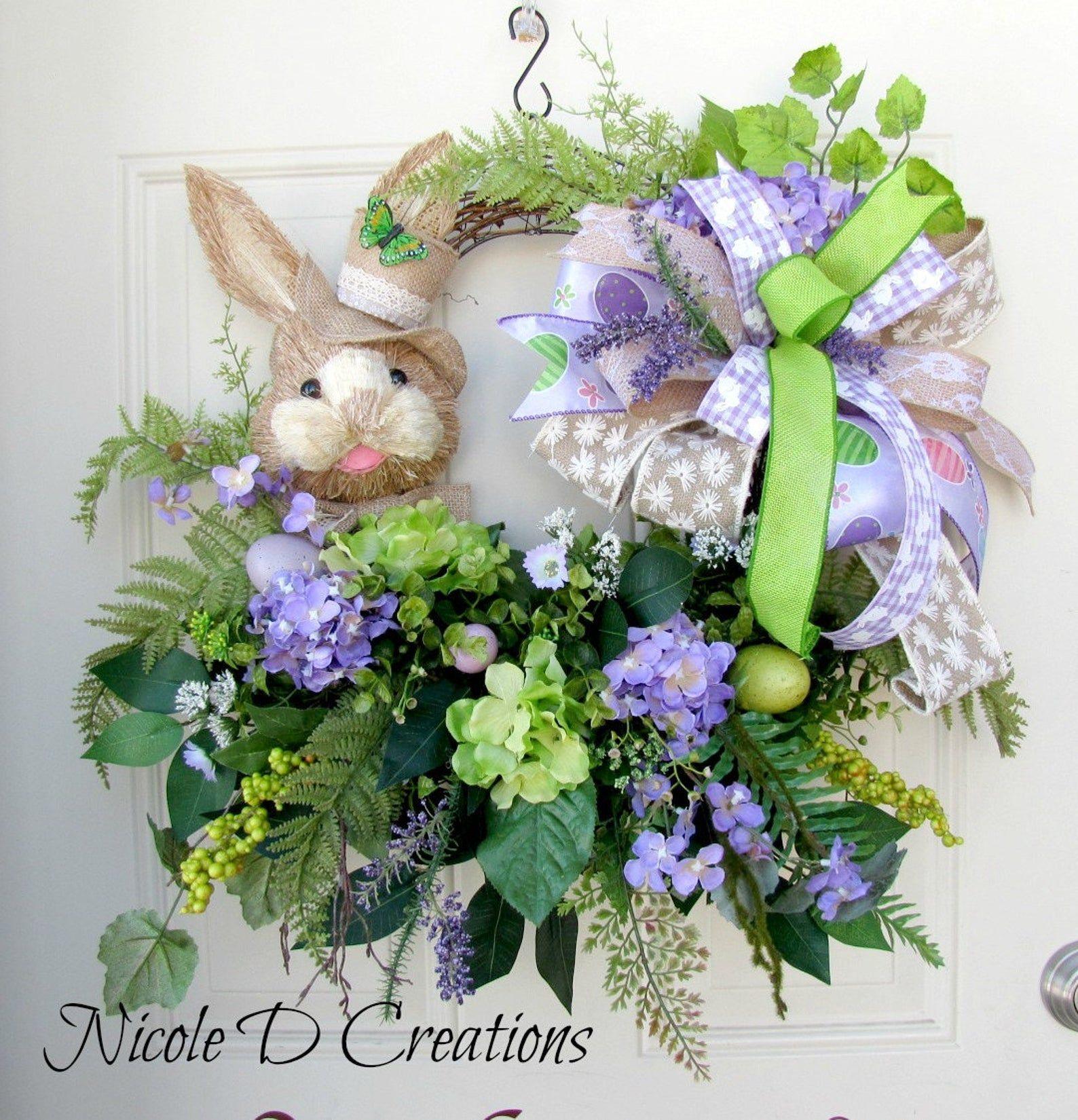 Photo of Easter wreath – rabbit wreath – grapevine wreath – front door wreath – spring wreath