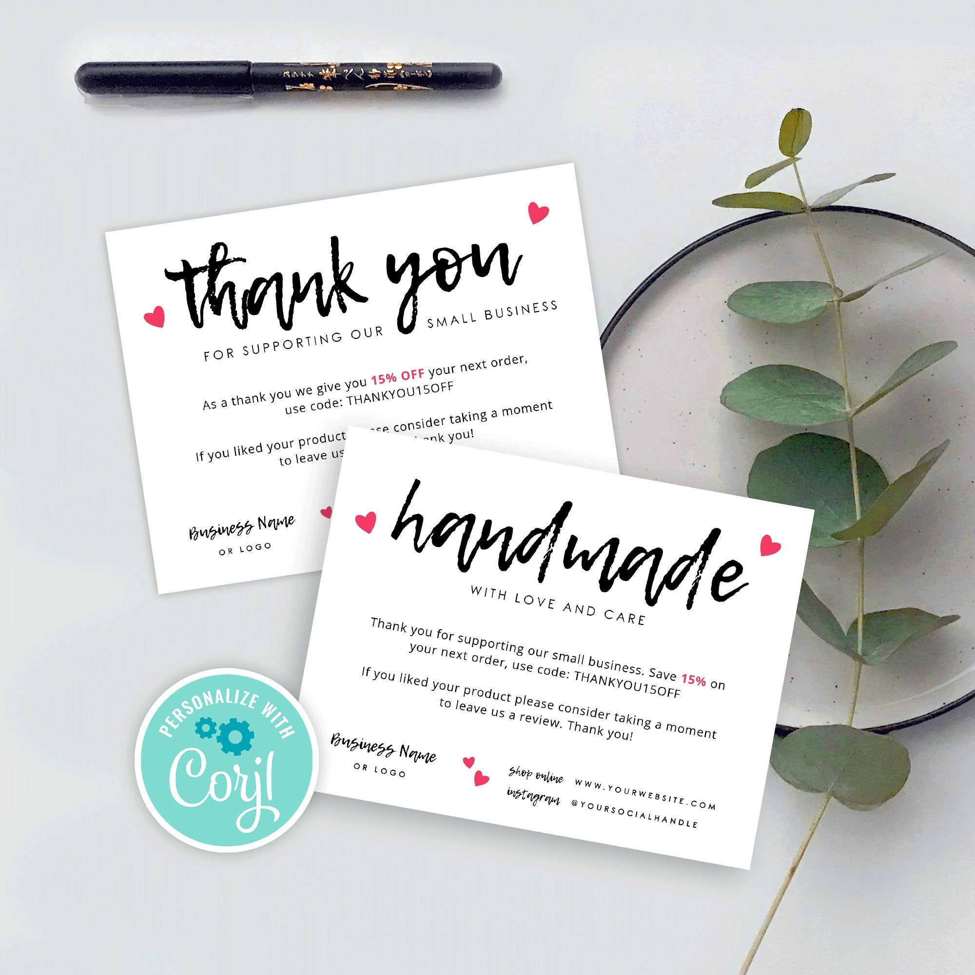 Business Thank You Card Template Handmade With Love Thank You Cards Editable Thank Business Thank You Notes Thank You Card Template Business Thank You Cards