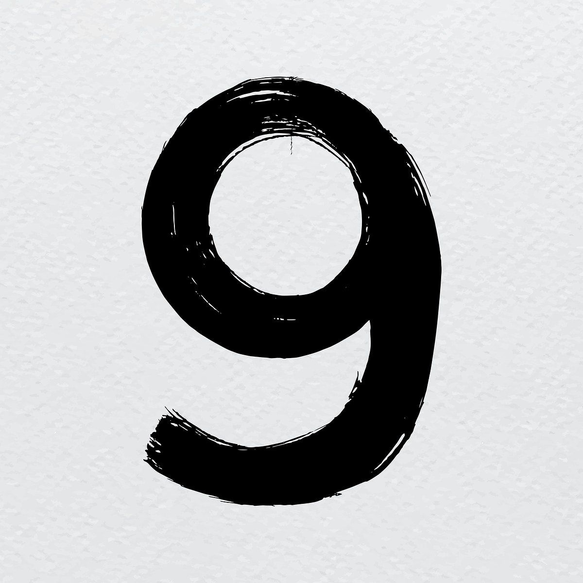 Number 9 Brush Stroke Distressed Style Typography Vector Free Image By Rawpixel Com Mind Typography Brush Strokes Vector Free