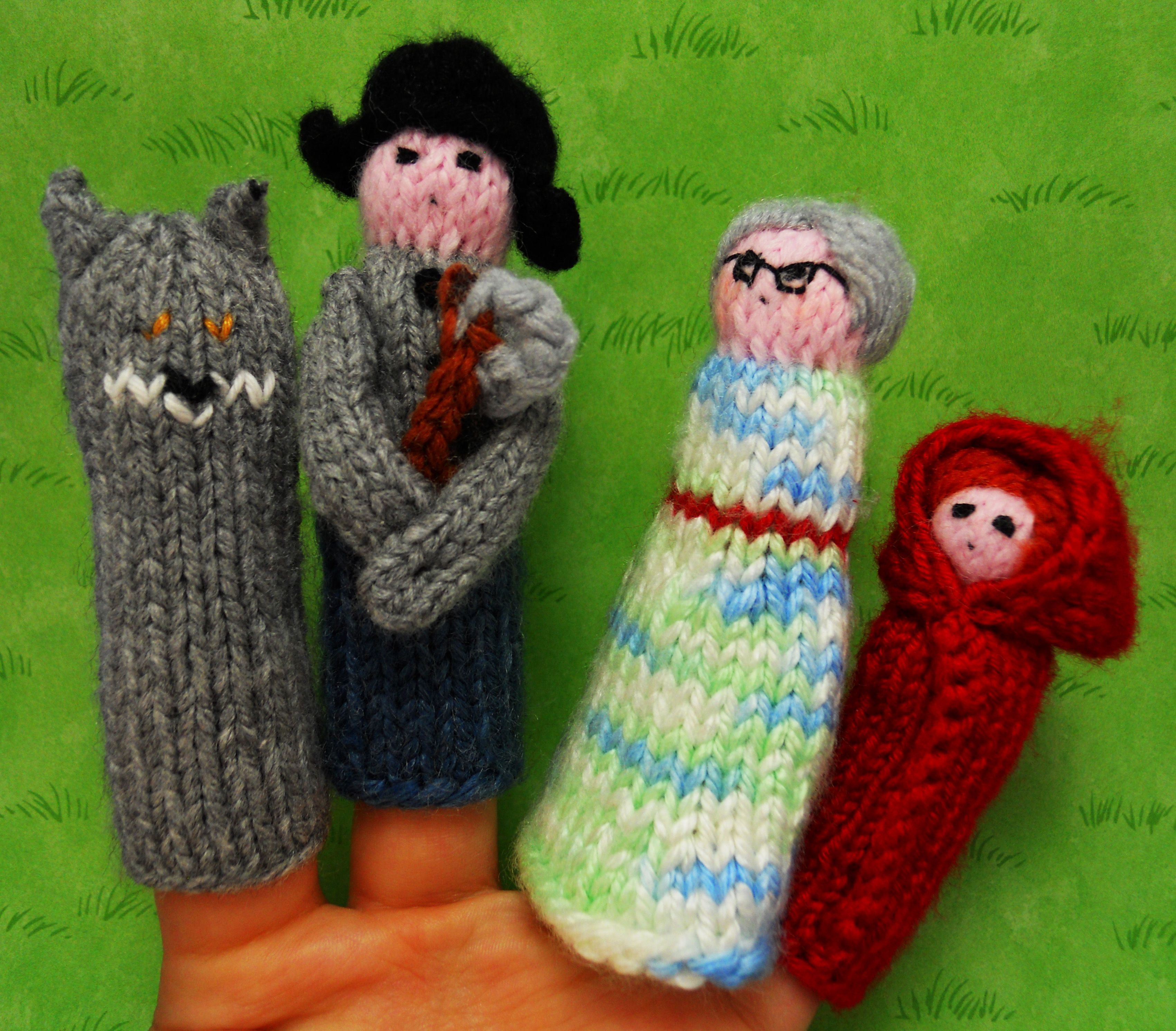 knitted finger puppets \