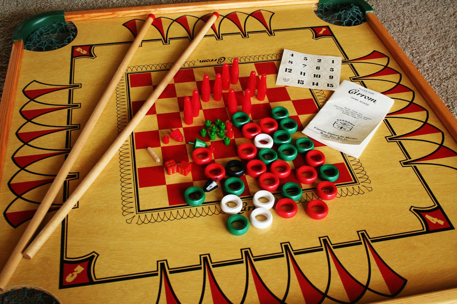 Large vintage double sided carrom game board with game