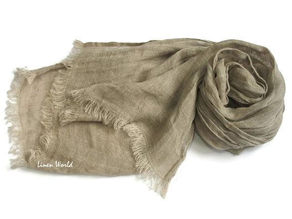 Linen Scarf Light Grey Mens Scarf Sandy Gray Pure Linen