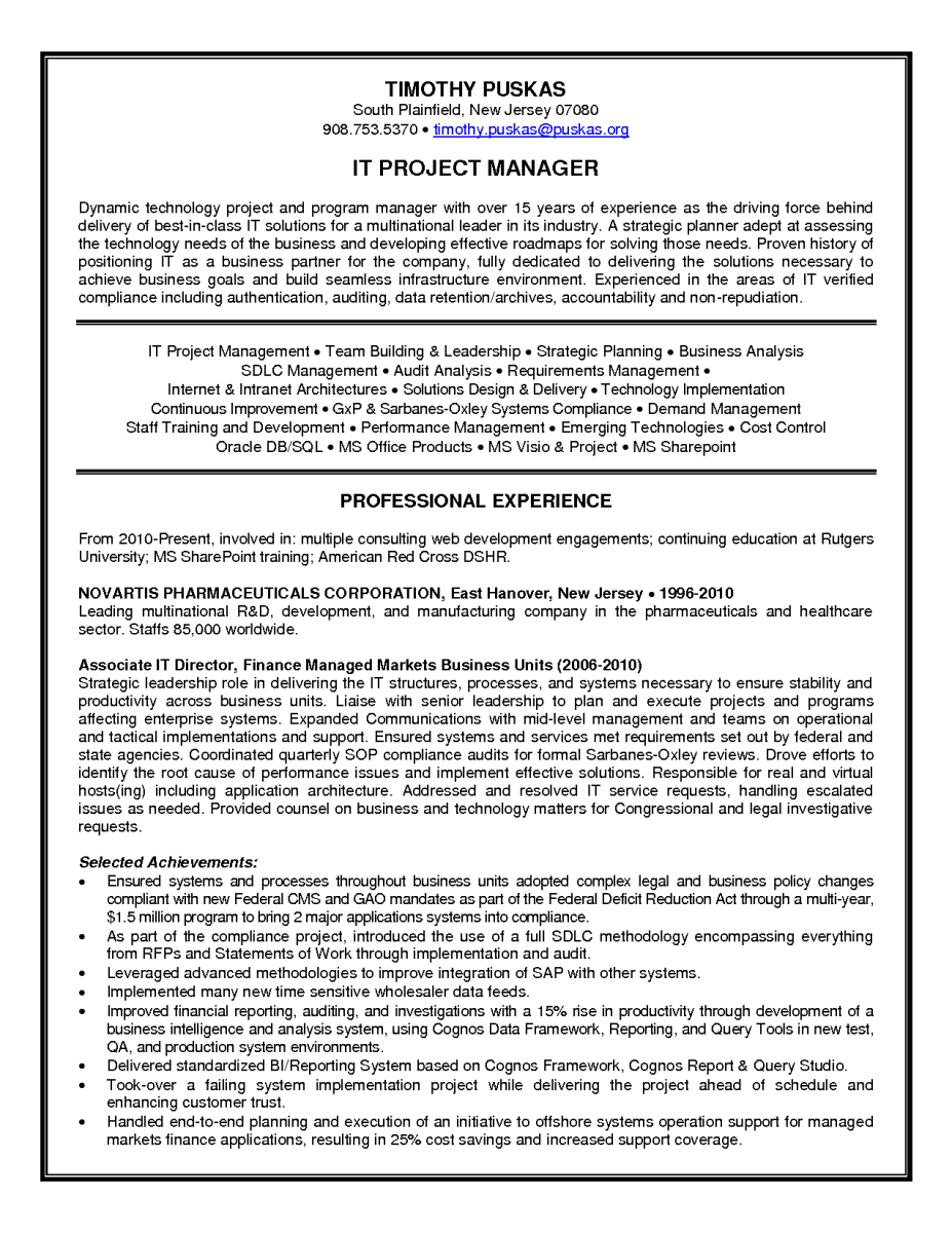 Resume For Project Manager 13 Technical Project Management  Riez Sample Resumes  Riez