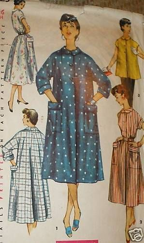 Vintage 1950s Simplicity 4925 Duster Lounge Housecoat Smock Pattern ...