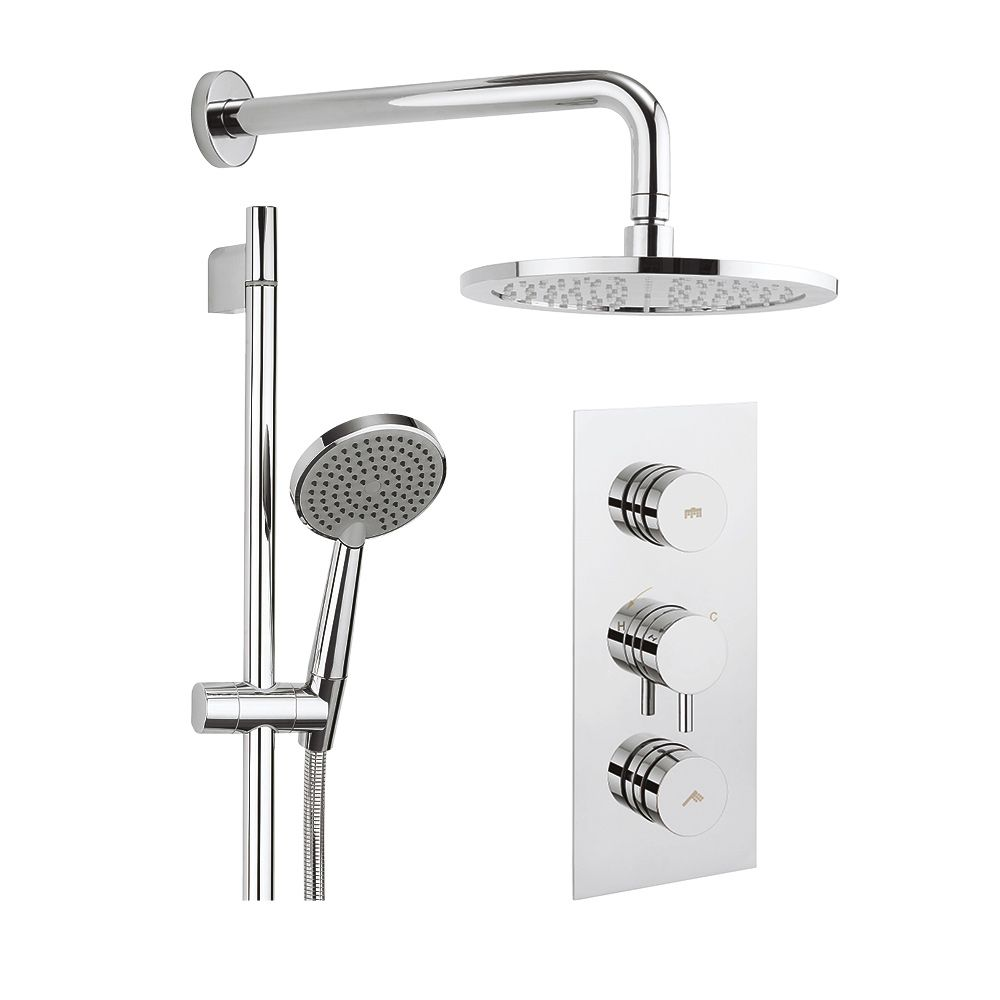 Crosswater Dial Kai Lever Concealed Thermostatic 2 Outlet Shower Valve With Fixed Shower Head Slide Rail And Shower Handset Shower Valve Fixed Shower Head Shower Heads