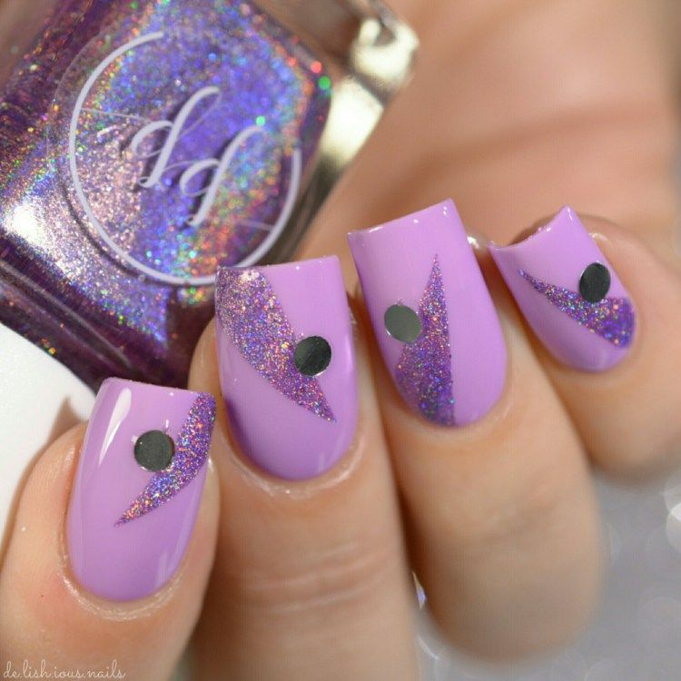 Painted Polish + Kelli Berglund Birthday Bash Duo Nail art design lavender creme and holo