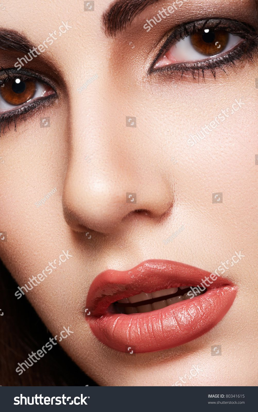 Close-up portrait of sensual arabic woman model. Beautiful clean skin, saturated makeup, bright eye make-up and dark eyeliner. Oriental style #Sponsored , #Sponsored, #model#woman#clean#Beautiful