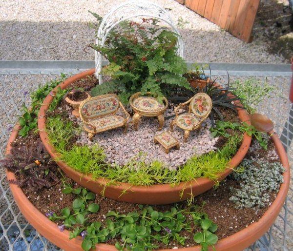 miniatur pergola pflanzarten zwei pflanzengefäse | feen,