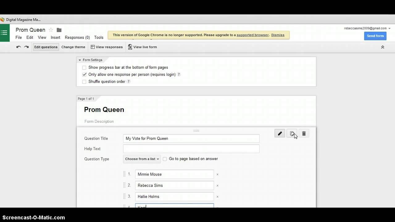 Create A Form In Google Docs To Have Students Vote On Prom King