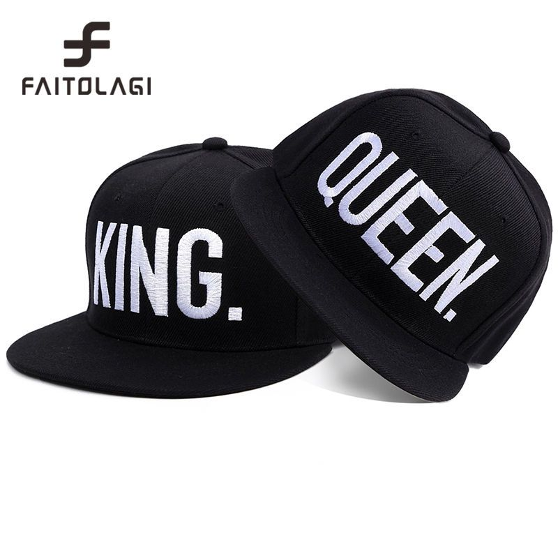 c70348d3a0d Fashion KING QUEEN Embroidered Letter Youth Lover Men Women Baseball Cap  Black  FAITOLAGI  Casual