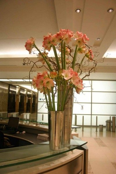 office floral arrangements. Tall Office Floral Arrangement With Amaryllis And Hazel In The Lobby Of Barclays #contractflowers # Arrangements H