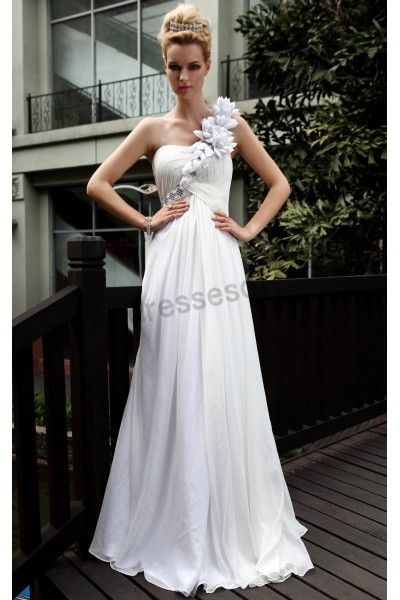 White One-shoulder Bead Handmade Flowers Tencel A-line Formal Ball Gown S597