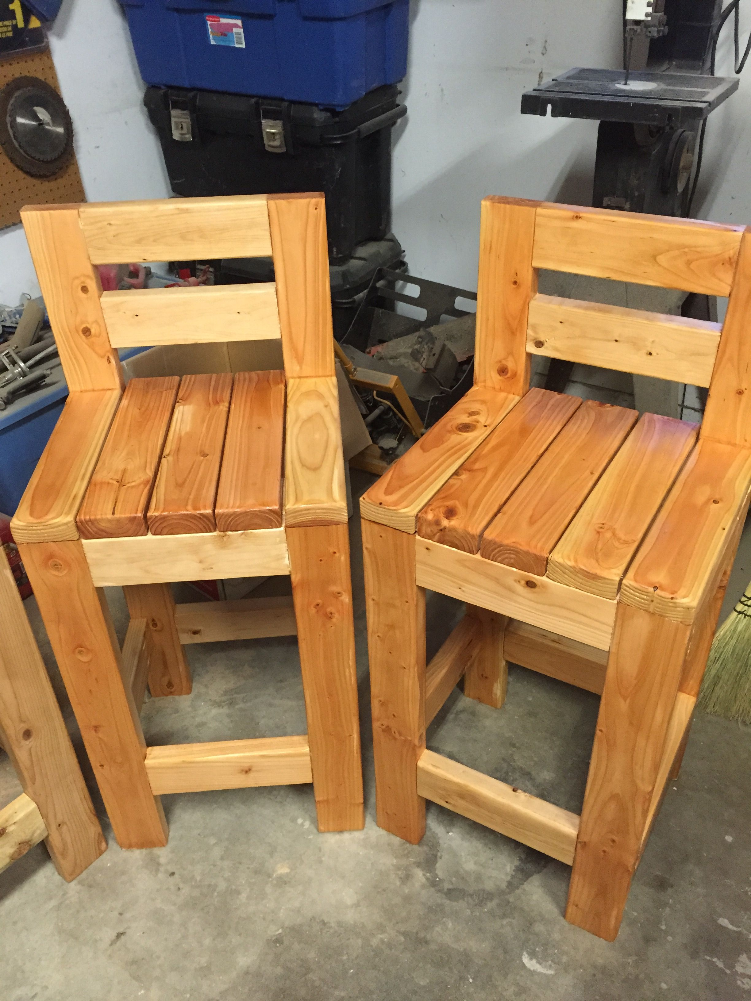 2x4 barstools. I built 4 stools for about 25 bucks a piece
