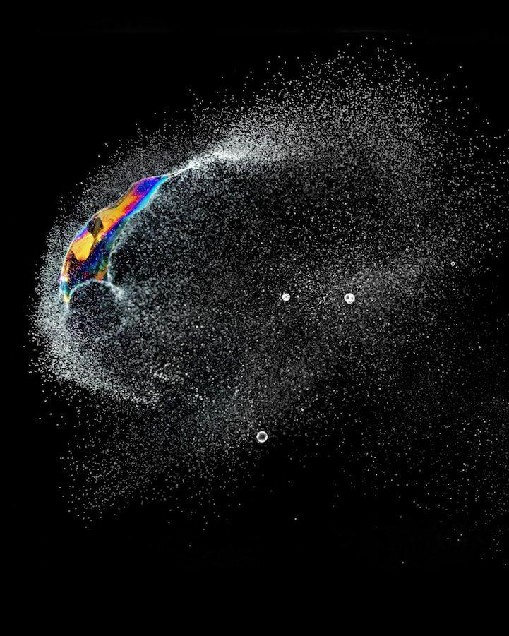 The Beauty of Bursting Iridescent Soap Bubbles