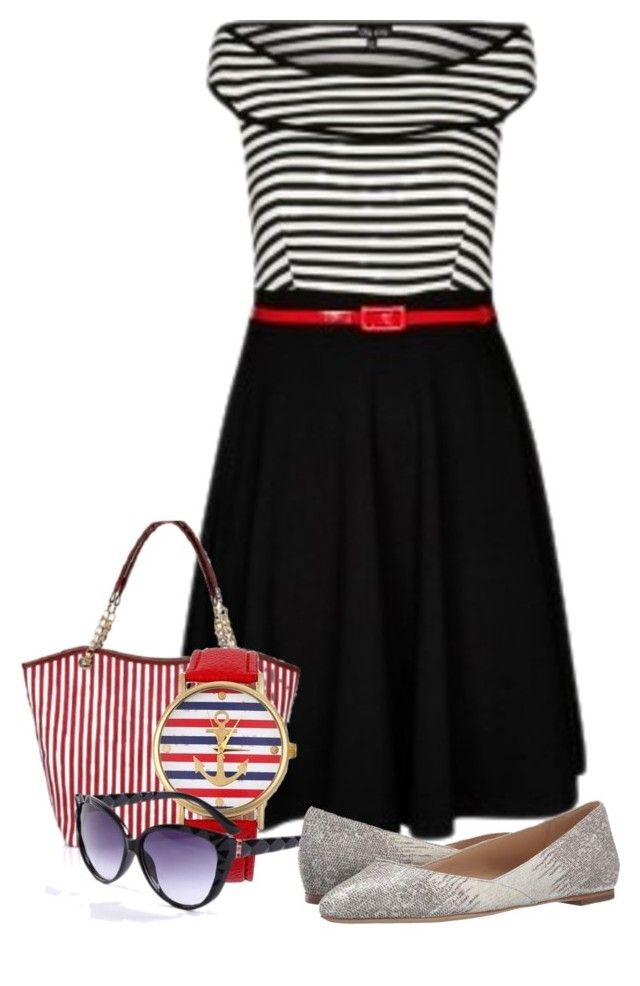 """Stripe Dress"" by westcoastcharmed ❤ liked on Polyvore featuring moda, City Chic, Loeffler Randall y myfriendshop"