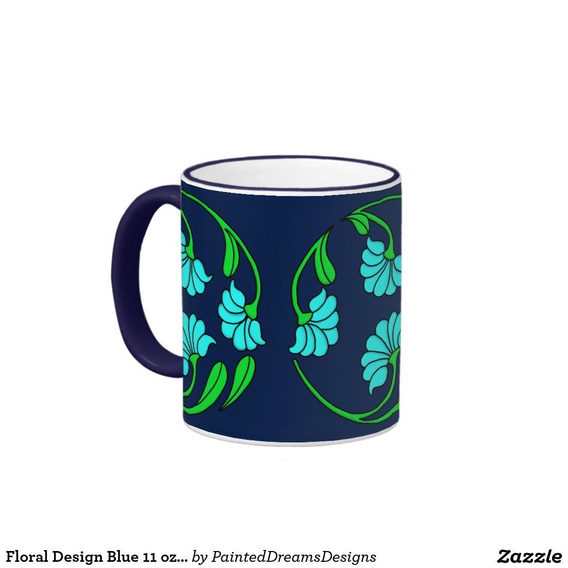 Floral design blue 11 oz ringer mug kitchenwares for Blue mug designs
