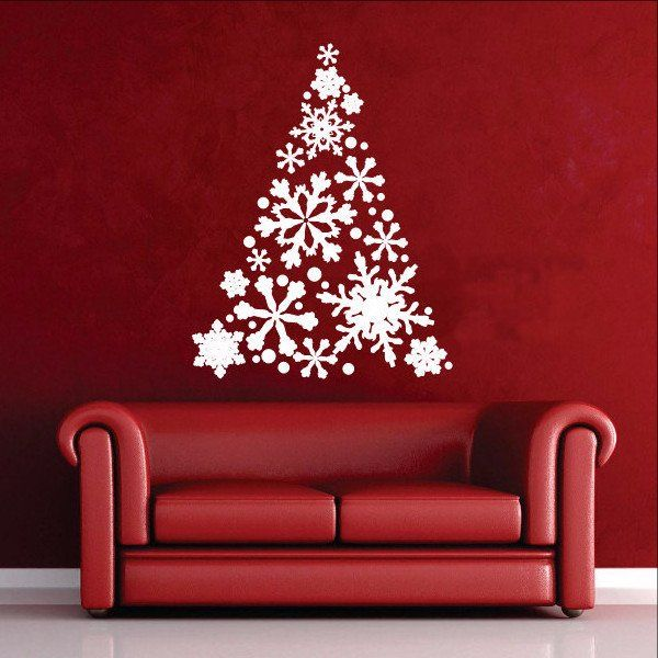 snowflake christmas tree vinyl wall decal 22358 wall decals christmas tree and walls. Black Bedroom Furniture Sets. Home Design Ideas