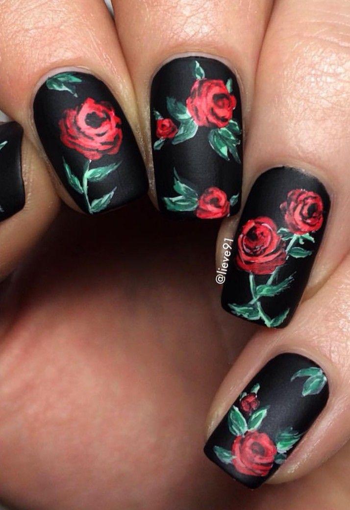Black Nails With Rose Design Blacknails Nails Roses Nails In