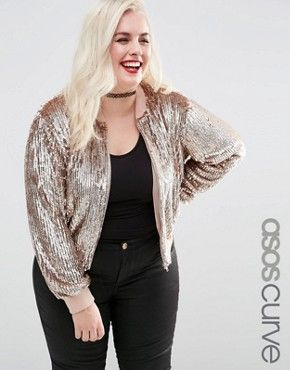 362d8a25be4 ASOS CURVE Bomber Jacket In Rose Gold Sequin