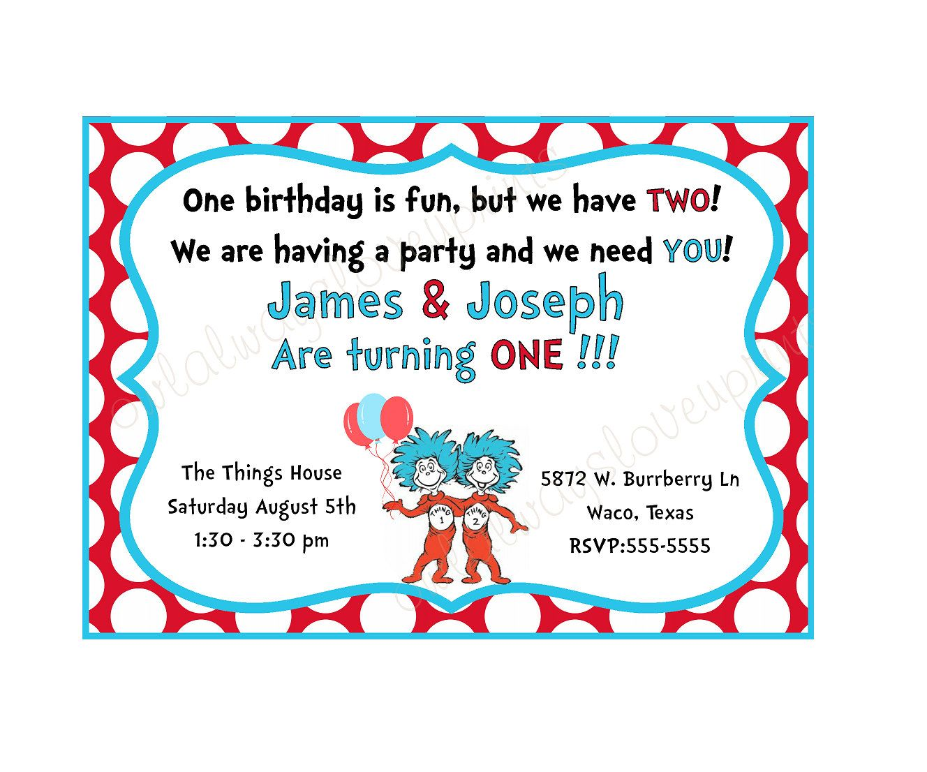 THING 1 And 2 Birthday Party Printable Invitation