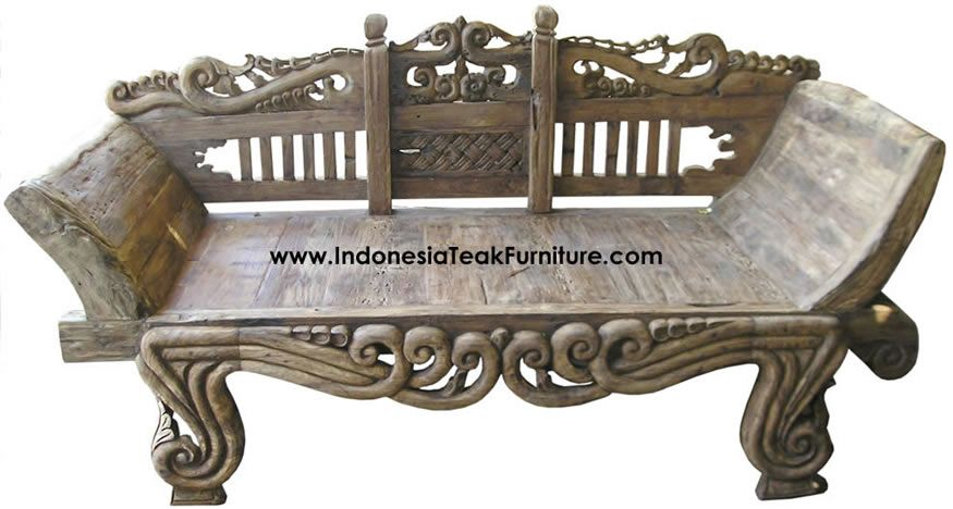 Antique Carved Teak Wood Daybed From Java Indonesia.