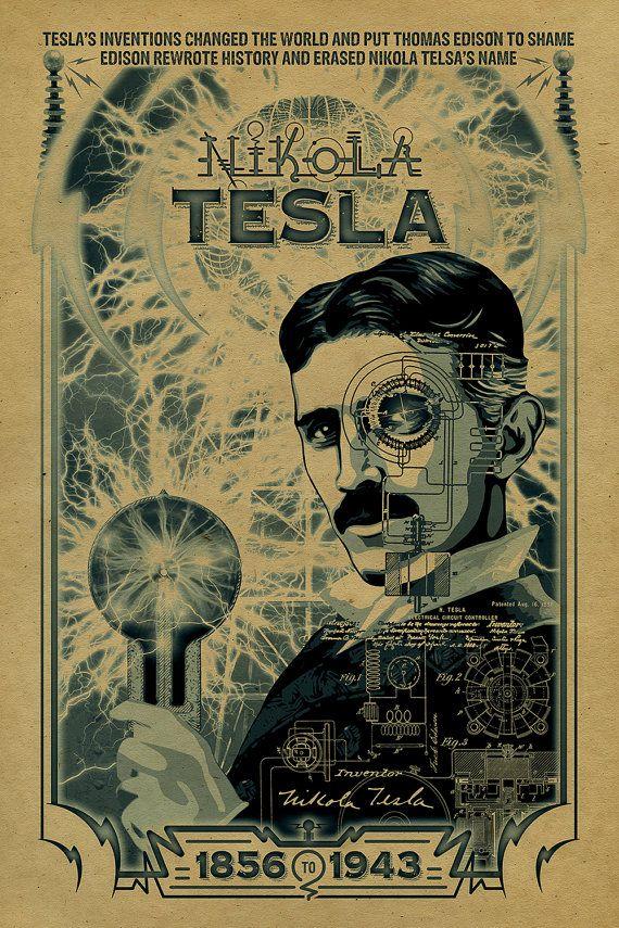 nikola tesla poster 12x18 inventor