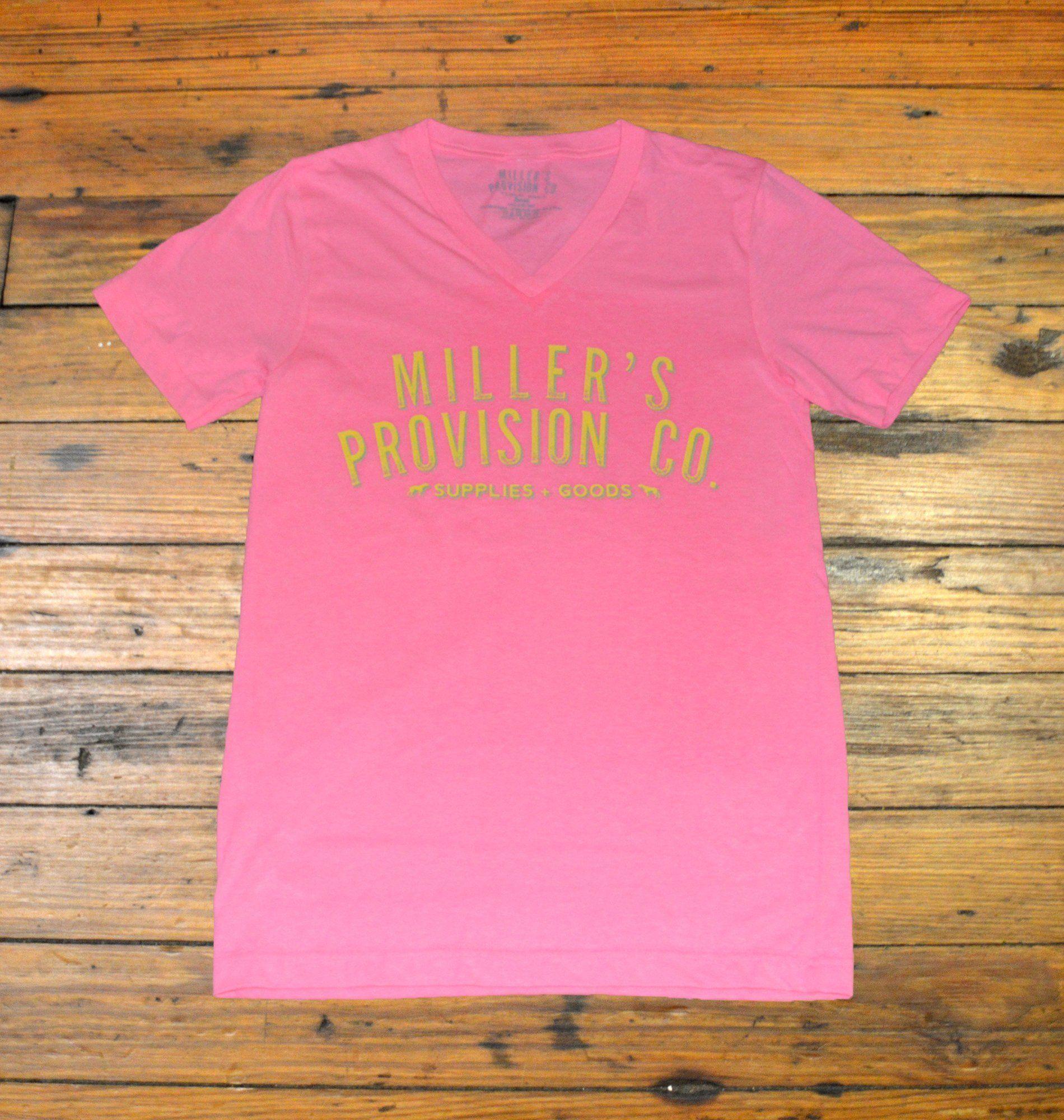 Miller's Provision Co., Neon Logo Short Sleeve VNeck, Hot