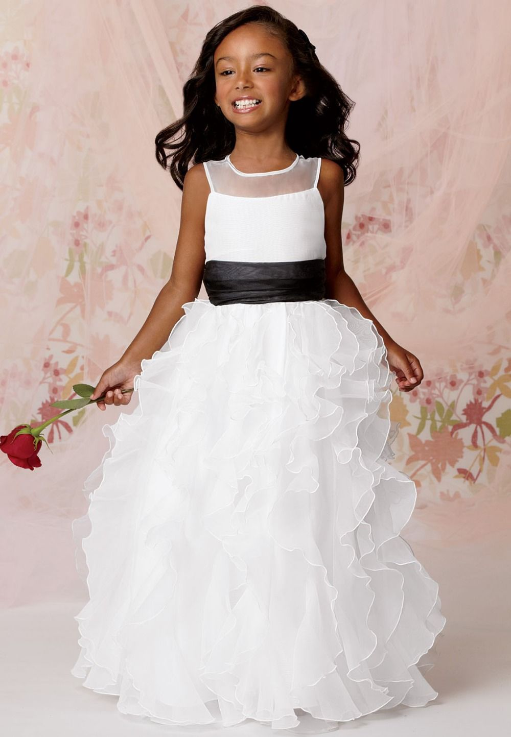 Click to buy ucuc new little flower girl organza belted white