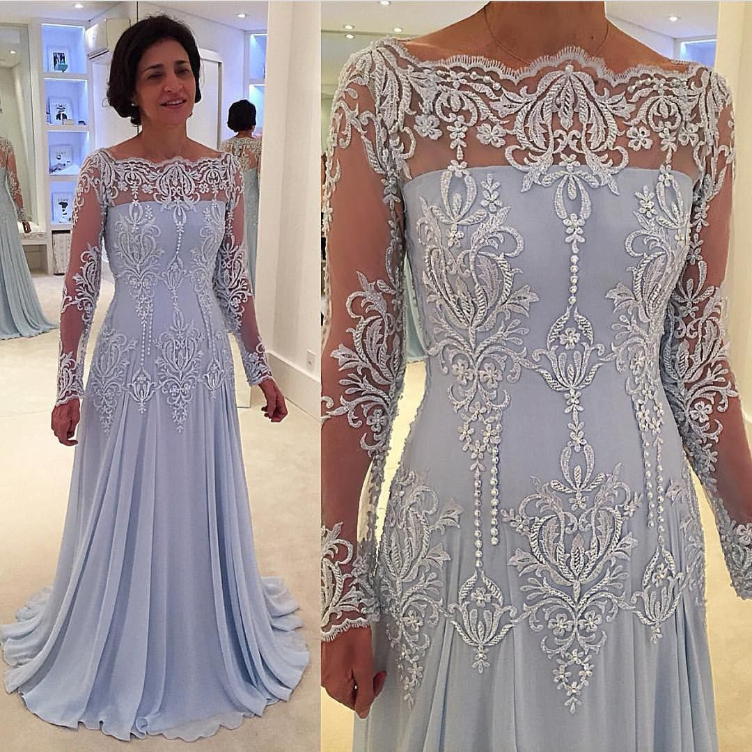Lace Long-Sleeve Prom Dress,Elegant A-line Mother-the-bride Dress