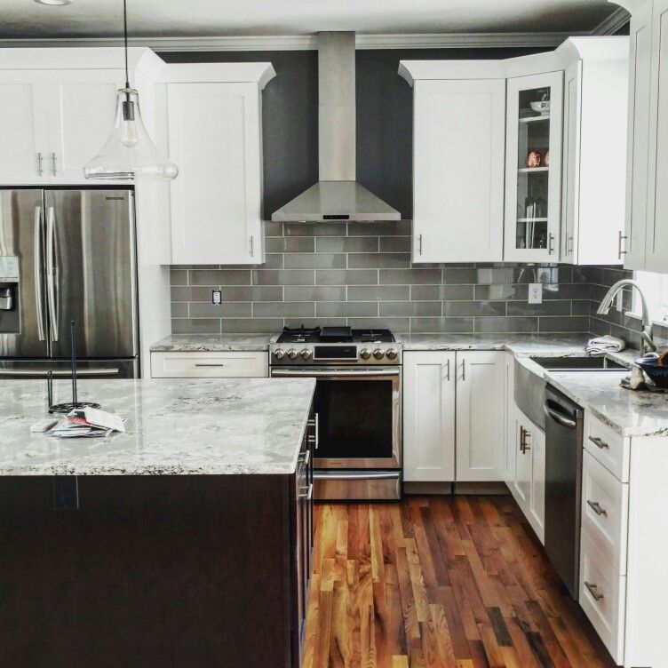 White Kitchen Cabinets With Gray Countertops: White Shaker Cabinets, Dark Cherry Java Island. Summerhill