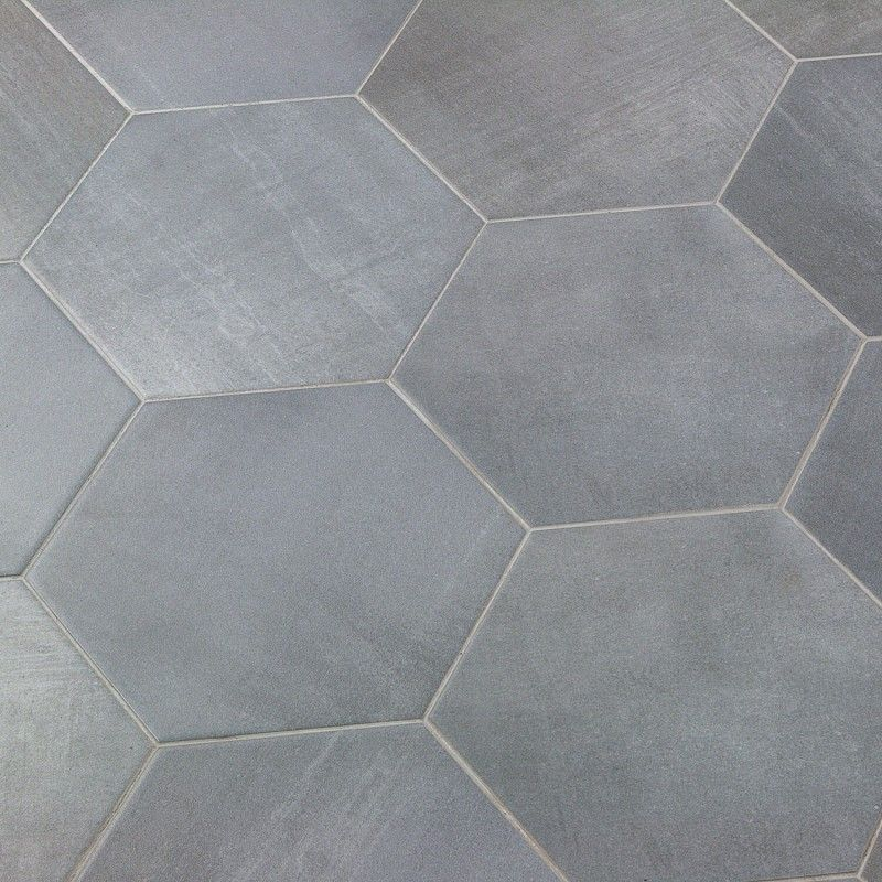 Paige Grigio 10 Large Hexagon Tile Porcelain Cement Look Tile Bathroom Tile Floor Hexagon Tiles