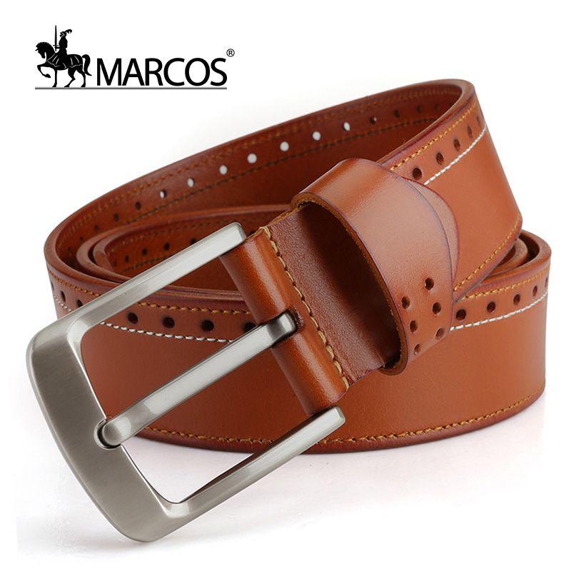 Find More Belts   Cummerbunds Information about Marcos Mens Leather Head  Layer Cowhide Pin Buckle Belt Designer Casual Personality Retro Elastic Mc  Belts ... 967f2ea510