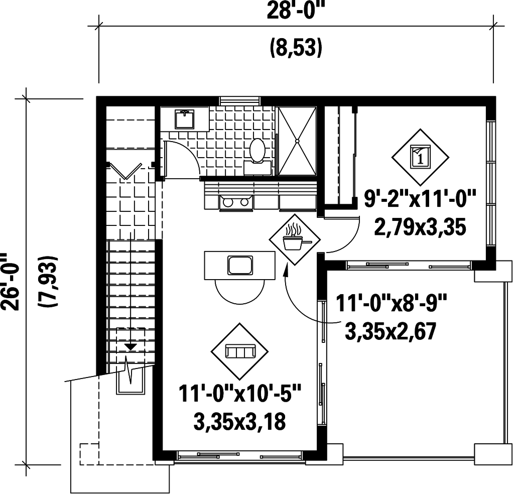 1 bedroom loft apartment  Plan   Houseplans  TINY HOMES  prefab u containers