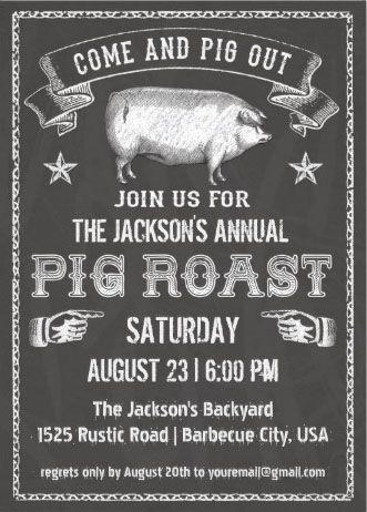 Pig roast invitations vintage black chalkboard pig roast chalkboard vintage pig roast invitation stopboris Images