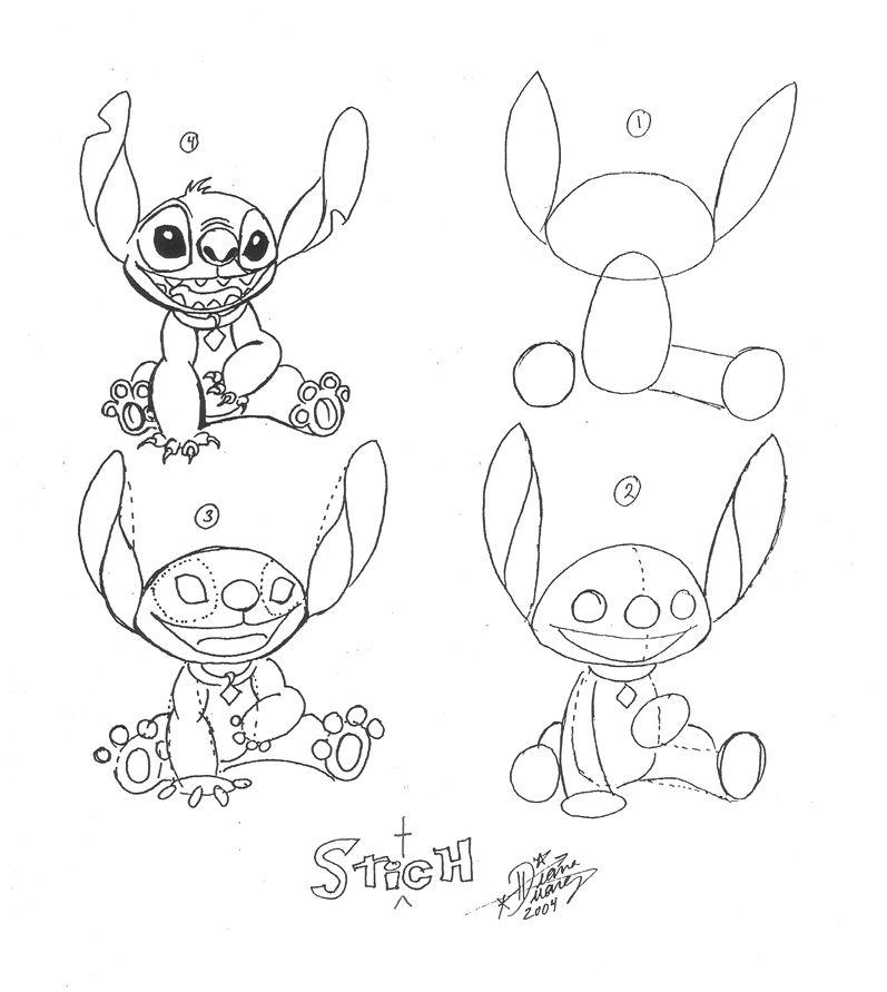 how to draw stitch full body step by step